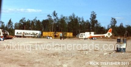One end of the base camp helipad